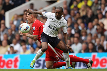 Martin Skrtel is Outmuscled by Jermain Defoe