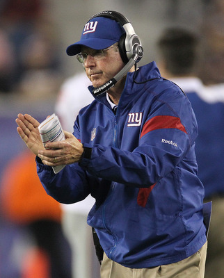 FOXBORO, MA - SEPTEMBER 1:  Tom Coughlin of the New York Giants reacts during a game with the New England patriots at Gillette Stadium on September 1, 2011 in Foxboro, Massachusetts. (Photo by Jim Rogash/Getty Images)