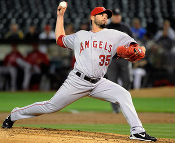 OAKLAND, CA - SEPTEMBER 12: Joel Pineiro #35 of the Los Angeles Angels of Anaheim pitches against the Oakland Athletics in the fourth inning during an MLB baseball game at O.co Coliseum on September 12, 2011 in Oakland, California.  (Photo by Thearon W. H