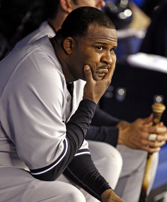 TORONTO, CANADA - SEPTEMBER 16: CC Sabathia #52 of the New York Yankees sits in the dugout after being pulled from the game during MLB action against the Toronto Blue Jays at the Rogers Centre September 16, 2011 in Toronto, Ontario, Canada. (Photo by Abel