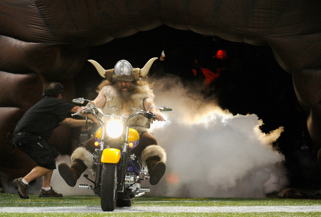 MINNEAPOLIS, MN - SEPTEMBER 01: Ragnar, mascot for the Minnesota Vikings performs before the game against the Houston Texans on September 1, 2011 at Hubert H. Humphrey Metrodome in Minneapolis, Minnesota. (Photo by Hannah Foslien/Getty Images)
