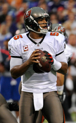 MINNEAPOLIS, MN - SEPTEMBER 18: Josh Freeman #5 of the Tampa Bay Buccaneers carries the ball against the Minnesota Vikings in the first quarter on September 18, 2011 at the Hubert H. Humphrey Metrodome in Minneapolis, Minnesota. (Photo by Hannah Foslien/G