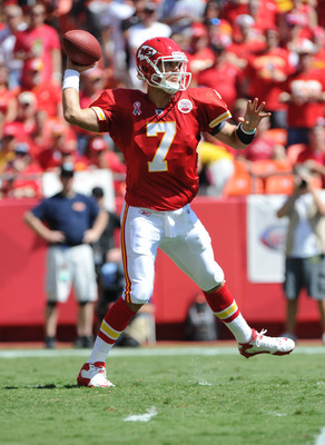 KANSAS CITY, MO - SEPTEMBER 11:  Quarterback Matt Cassell #7 of the Kansas City Chiefs throws a pass down field against the Buffalo Bills during the first quarter on September 11, 2011 at Arrowhead Stadium in Kansas City, Missouri.  (Photo by Peter Aiken/