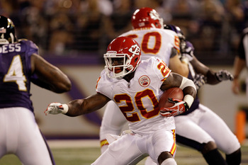 BALTIMORE, MD - AUGUST 19: Thomas Jones #20 of the Kansas City Chiefs carries the ball against the Baltimore Ravens during a preseason game at M&T Bank Stadium on August 19, 2011 in Baltimore, Maryland. The Ravens won 31-13. (Photo by Rob Carr/Getty Image