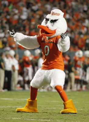 MIAMI, FL - SEPTEMBER 17: The Miami Hurricanes mascot celebrates a touchdown against the Ohio State Buckeyes on September 17, 2011 at Sun Life Stadium in Miami, Florida. The Hurricanes defeated the Buckeyes 24-6. (Photo by Joel Auerbach/Getty Images)
