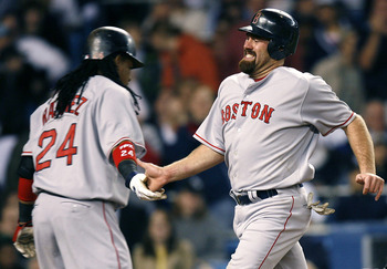 NEW YORK  - APRIL 17: Manny Ramirez #24 (L) greets Kevin Youkilis #20 of the Boston Red Sox as they score in the fifth inning of a game against the New York Yankees on April 17, 2008 at Yankee Stadium in the Bronx borough of New York City. (Photo by Jeff