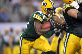 ARLINGTON, TX - FEBRUARY 06:  James Starks #44 of the Green Bay Packers runs the ball against the Pittsburgh Steelers during Super Bowl XLV at Cowboys Stadium on February 6, 2011 in Arlington, Texas. The Packers won 31-25. (Photo by Jamie Squire/Getty Ima