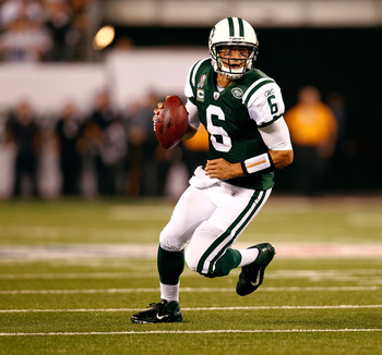 EAST RUTHERFORD, NJ - SEPTEMBER 11:  Mark Sanchez #6 of the New York Jets looks to pass against the Dallas Cowboys during their NFL Season Opening Game at MetLife Stadium on September 11, 2011 in East Rutherford, New Jersey. The Jets won 27-24.  (Photo by