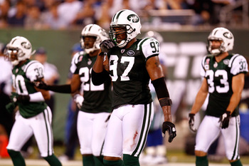 EAST RUTHERFORD, NJ - SEPTEMBER 11:  Calvin Pace #97 of the New York Jets looks on against the Dallas Cowboys during their NFL Season Opening Game at MetLife Stadium on September 11, 2011 in East Rutherford, New Jersey. The Jets won 27-24. (Photo by Jeff