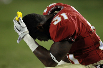 TALLAHASSEE, FL - SEPTEMBER 17:  Terrence Brooks #31 of the Florida State Seminoles reacts during a loss against the Oklahoma Sooners at Doak Campbell Stadium on September 17, 2011 in Tallahassee, Florida.  (Photo by Ronald Martinez/Getty Images)