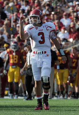 LOS ANGELES, CA - SEPTEMBER 10:  Jordan Wynn #3 of the Utah Utes signals to the bench against the USC Trojans at Los Angeles Memorial Coliseum on September 10, 2011 in Los Angeles, California.  (Photo by Harry How/Getty Images)