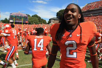 CLEMSON, SC - SEPTEMBER 17:  Sammy Watkins #2 of the Clemson Tigers celebrates after defeating the Auburn Tigers 38-24 at Memorial Stadium on September 17, 2011 in Clemson, South Carolina.  (Photo by Streeter Lecka/Getty Images)