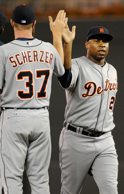 MINNEAPOLIS, MN - AUGUST 26: Max Scherzer #37 and Delmon Young #21 of the Detroit Tigers celebrates a win against the Minnesota Twins on August 26, 2011 at Target Field in Minneapolis, Minnesota. The Tigers defeated the Twins 8-1. (Photo by Hannah Foslien
