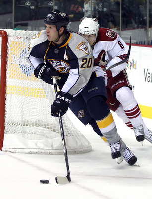 NASHVILLE, TN - NOVEMBER 30:  Ryan Suter #20 of the Nashville Predators skates against the Phoenix Coyotes at the Bridgestone Arena on November 30, 2010 in Nashville, Tennessee. The Predators defeated the Coyotes 3-0.  (Photo by Bruce Bennett/Getty Images