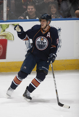 EDMONTON, CANADA - NOVEMBER 19: Ales Hemsky #83 of the Edmonton Oilers celebrates after scoring short handed on Ilya Bryzgalov #30 of the Phoenix Coyotes at Rexall Place November 19, 2010 in Edmonton, Alberta, Canada. (Photo by Dale MacMillan/Getty Images