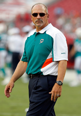 TAMPA, FL - AUGUST 27:  Head coach Tony Sparano of the Miami Dolphins walks the sideline just before the start of the preseason game against the Tampa Bay Buccaneers at Raymond James Stadium on August 27, 2011 in Tampa, Florida.  (Photo by J. Meric/Getty