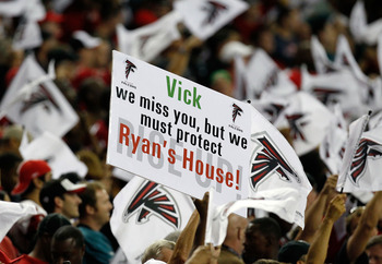 ATLANTA, GA - SEPTEMBER 18:  Fans of the Atlanta Falcons hold a sign about Michael Vick of the Philadelphia Eagles at Georgia Dome on September 18, 2011 in Atlanta, Georgia.  (Photo by Kevin C. Cox/Getty Images)
