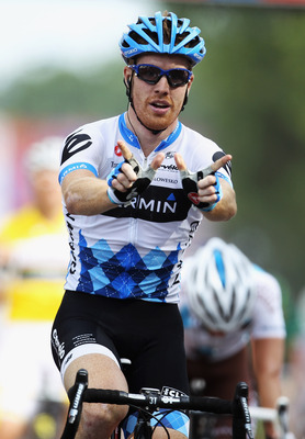 Tyler Farrar winning on July 4th at the Tour de France