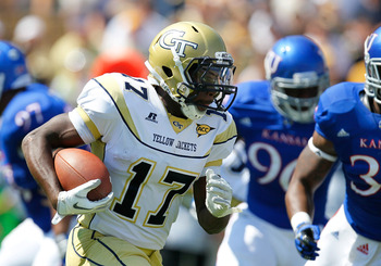 ATLANTA, GA - SEPTEMBER 17:  Orwin Smith #17 of the Georgia Tech Yellow Jackets rushes upfield against the Kansas Jayhawks at Bobby Dodd Stadium on September 17, 2011 in Atlanta, Georgia.  (Photo by Kevin C. Cox/Getty Images)