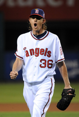 ANAHEIM, CA - SEPTEMBER 09:  Jered Weaver #36 of the Los Angeles Angels of Anaheim celebrates during the game against the New York Yankees at Angel Stadium of Anaheim on September 9, 2011 in Anaheim, California.  (Photo by Lisa Blumenfeld/Getty Images)