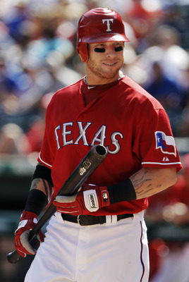 ARLINGTON, TX - SEPTEMBER 10: Josh Hamilton #32 of the Texas Rangers  during a baseball game at Rangers Ballpark in Arlington on September 10, 2011 in Arlington, Texas. Oakland won 8-7. (Photo by Brandon Wade/Getty Images)