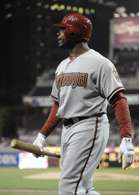 SAN DIEGO, CA - SEPTEMBER 16:  Justin Upton #10 of the Arizona Diamondbacks reacts after fouling out during the fourth inning of a baseball game against the San Diego Padres at Petco Park on September 16, 2011 in San Diego, California. (Photo by Denis Por