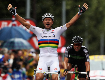 Thor Hushovd winning stage 16 of the Tour de France