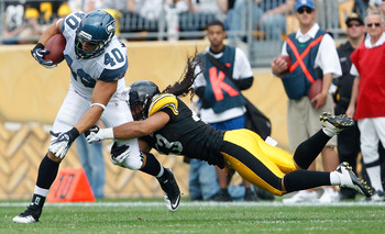 PITTSBURGH - SEPTEMBER 18:  Troy Polamalu #43 of the Pittsburgh Steelers attempts to tackle Eddie Williams #40 of the Seattle Seahawks during the game on September 18, 2011 at Heinz Field in Pittsburgh, Pennsylvania.  (Photo by Jared Wickerham/Getty Image