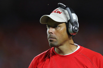 KANSAS CITY, MO - AUGUST 26: Head coach Todd Haley of the Kansas City Chiefs looks on from the sideline against the St. Louis Rams during a preseason game at Arrowhead Stadium  on August 26, 2011 in Kansas City, Missouri.  The Rams beat the Chiefs 14-10.