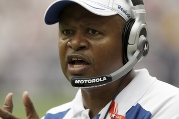 HOUSTON, TX - SEPTEMBER 11: Head coach Jim Caldwell of the Indianapolis Colts gives directions against the Houston Texans on September 11, 2011 at Reliant Stadium in Houston, Texas. Texans won 34 to 7.(Photo by Thomas B. Shea/Getty Images)