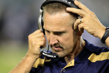 JACKSONVILLE, FL - SEPTEMBER 01:  Head coach Steve Spagnulo of the St. Louis Rams watches the action during a game against the Jacksonville Jaguars at EverBank Field on September 1, 2011 in Jacksonville, Florida.  (Photo by Sam Greenwood/Getty Images)