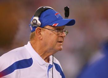 ORCHARD PARK, NY - AUGUST 27: Chan Gailey, head coach of the Buffalo Bills watches from the sidelines against the Jacksonville Jaguars   at Ralph Wilson Stadium on August 27, 2011 in Orchard Park, New York .Buffalo won 35-32 in overtime  (Photo by Rick St