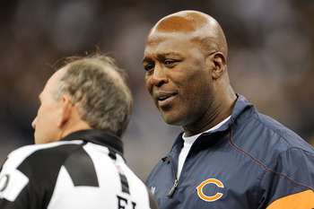 NEW ORLEANS, LA - SEPTEMBER 18:  Head coach Lovie Smith, of the Chicago Bears discusses a call with a referee at the Louisiana Superdome on September 18, 2011 in New Orleans, Louisiana.  The Saints defeated the Bears 30-13.  (Photo by Stacy Revere/Getty I