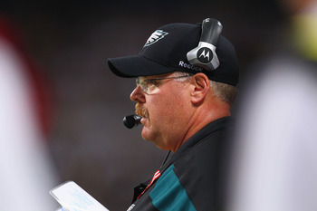 ST. LOUIS - SEPTEMBER 11: Head coach Andy Reid of the Philadelphia Eagles looks on from the sideline against the St. Louis Rams at the Edward Jones Dome on September 11, 2011 in St. Louis, Missouri.  (Photo by Dilip Vishwanat/Getty Images)