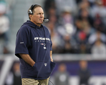 FOXBORO, MA -  SEPTEMBER 18:  Bill Belichick of the New England Patriots watches the action during a game with the San Diego Chargers at Gillette Stadium on September 18, 2011 in Foxboro, Massachusetts. (Photo by Jim Rogash/Getty Images)