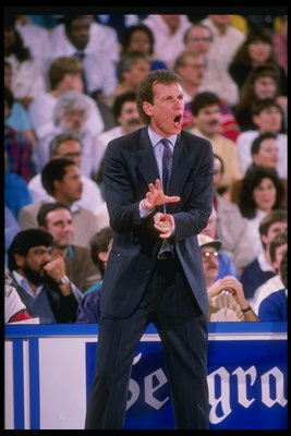 1988-1989:  Head coach Doug Collins of the Chicago Bulls yells from the sidelines during a game at the Chicago Stadium in Chicago, Illinois. Mandatory Credit: Otto Greule  /Allsport