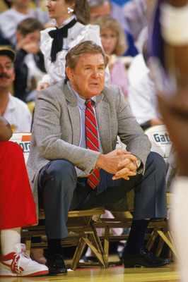 1987: Head coach Bill Fitch of the Houston Rocket looks on from the bench during a game in the 1987-88 season. NOTE TO USER: User expressly acknowledges and agrees that, by downloading and/or using this Photograph, User is consenting to the terms and cond