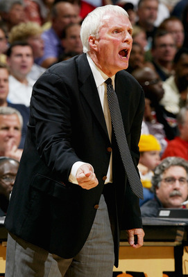 MEMPHIS, TN - APRIL 22:  Head Coach Hubie Brown of the Memphis Grizzlies shouts instructions to his team against the San Antonio Spurs during Game three of the Western  Conference Quarterfinals during the 2004 NBA Playoffs April 22, 2004 at the Pyramid in