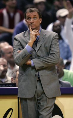 MILWAUKEE - MAY 01: Head Coach Flip Saunders of the Detroit Pistons reacts in game four of the Eastern Conference Quarterfinals against the Milwaukee Bucks during the 2006 NBA Playoffs on May 1, 2006 at the Bradley Center in Milwaukee, Wisconsin.  The Pis