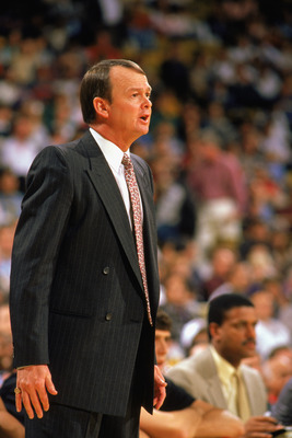 1988:  Head coach Mike Schuler of the Portland Trail Blazers yells during the 1988-1989 NBA season game.  (Photo by Mike Powell/Getty Images)