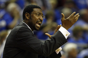 ORLANDO - APRIL 28: Head Coach Sam Mitchell of the Toronto Raptors directs his team against the Orlando Magic in Game Five of the Eastern Conference Quarterfinals during the 2008 NBA Playoffs at Amway Arena on April 28, 2008 in Orlando, Florida. NOTE TO U