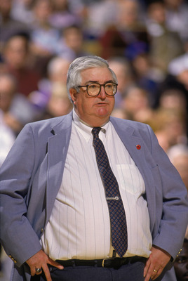 SALT LAKE CITY - 1989:  Head coach Frank Layden of the Utah Jazz stands on the sideline during an NBA game at The Salt Palace in Salt Lake City, Utah in 1989. (Photo by Rick Stewart/Getty Images)