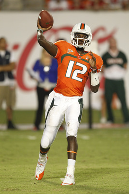 MIAMI, FL - SEPTEMBER 17: Jacory Harris #12 of the Miami Hurricanes throws the ball against the Ohio State Buckeyes on September 17, 2011 at Sun Life Stadium in Miami, Florida. The Hurricanes defeated the Buckeyes 24-6. (Photo by Joel Auerbach/Getty Image