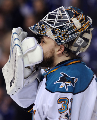 VANCOUVER, CANADA - MAY 24:  Goaltender Antti Niemi #31 of the San Jose Sharks looks up at the scoreboard during a break in play in Game Five of the Western Conference Finals against the Vancouver Canucks during the 2011 Stanley Cup Playoffs at Rogers Are
