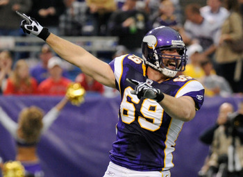 MINNEAPOLIS, MN - SEPTEMBER 18: Jared Allen #69 of the Minnesota Vikings celebrates a sack of Josh Freeman #5 of the Tampa Bay Buccaneers in the first quarter on September 18, 2011 at the Hubert H. Humphrey Metrodome in Minneapolis, Minnesota. (Photo by H