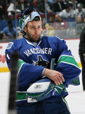 VANCOUVER, CANADA - MARCH 30:  Goalie Roberto Luongo #1 of the Vancouver Canucks appears displeased during a break in action against the Calgary Flames at General Motors Place on March 30, 2008, in Vancouver, Canada.   (Photo by Kim Stallknecht/Getty Imag