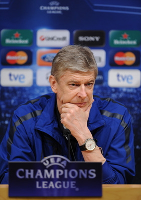 BARCELONA, SPAIN - MARCH 07:  Arsene Wenger, Manager of Arsenal looks on during a press conference ahead of their UEFA Champions League round of 16 second leg match against Barcelona at the Camp Nou stadium on March 7, 2011 in Barcelona, Spain.  (Photo by