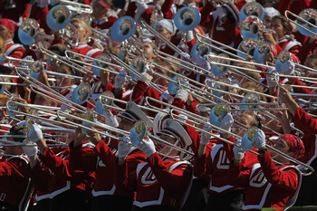 CHICAGO, IL - SEPTEMBER 17:  Members of the Wisconsin Badger band play during a game against the Northern Illinois Huskies at Soldier Field on September 17, 2011 in Chicago, Illinois. Wisconsin defeated Northern Illinois 49-7.  (Photo by Jonathan Daniel/G