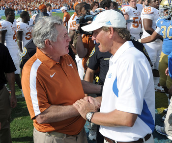 Texas coach Mack Brown and UCLA coach Rick Neuheisel