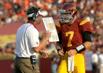 USC coach Lane Kiffin and QB Matt Barkley combined for a record five TD passes, each to a different receiver, against Syracuse's good secondary